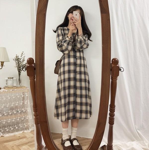 Şık Fransız etek ekose etek Romantik niş Hong Kong tarzı uzun ekose elbise sonbahar ve kış diz boyu öğrenci gömlek elbise wzsAU w manşonlu