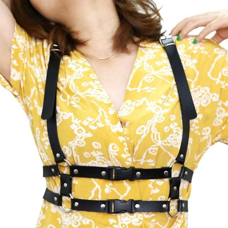 Camisa atractiva de Harajuku punk correa Faja mujeres hechas a mano de la cintura correa decorativa de cuero del vestido del arnés de la pretina de tirantes