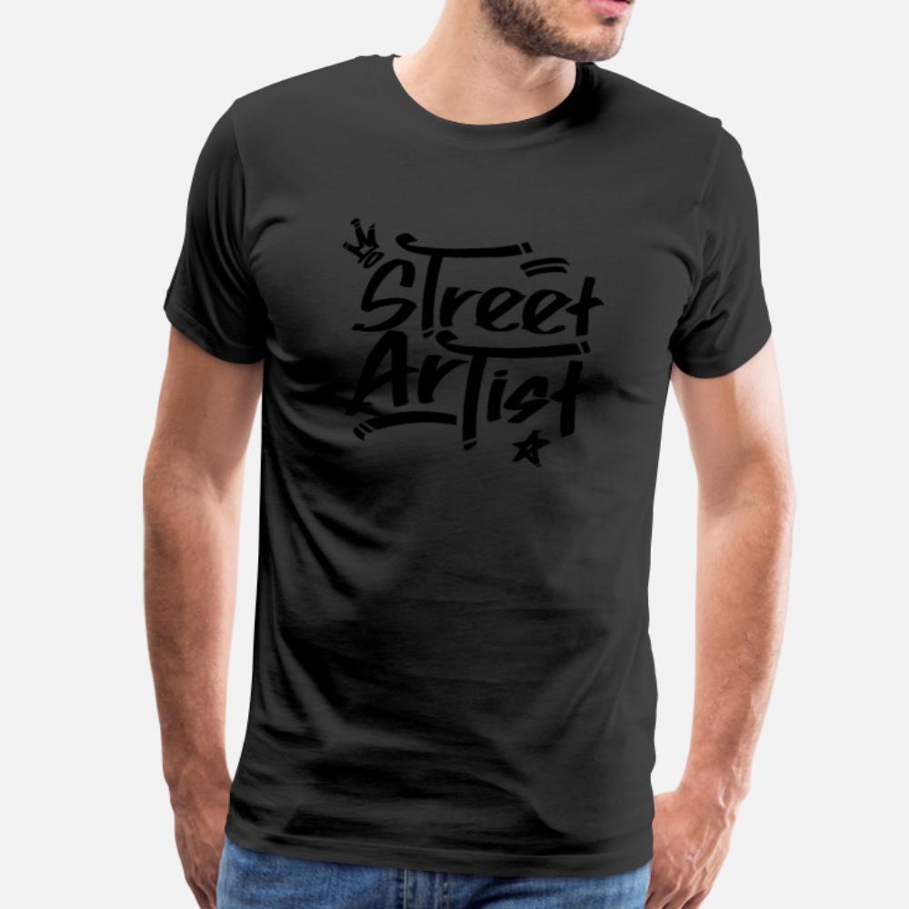 Graffiti Street Art urbain Vaporiser rue Artiste hommes de T-shirt ras du cou coton Personnalisez homme mignon de base Printemps Automne Loisirs chemise