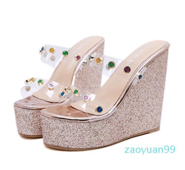 Sıcak Satış-Moda lüks tasarımcı kadın ayakkabı sandalet parıltılı elmas taklidi PVC şeffaf platformu kama terlik