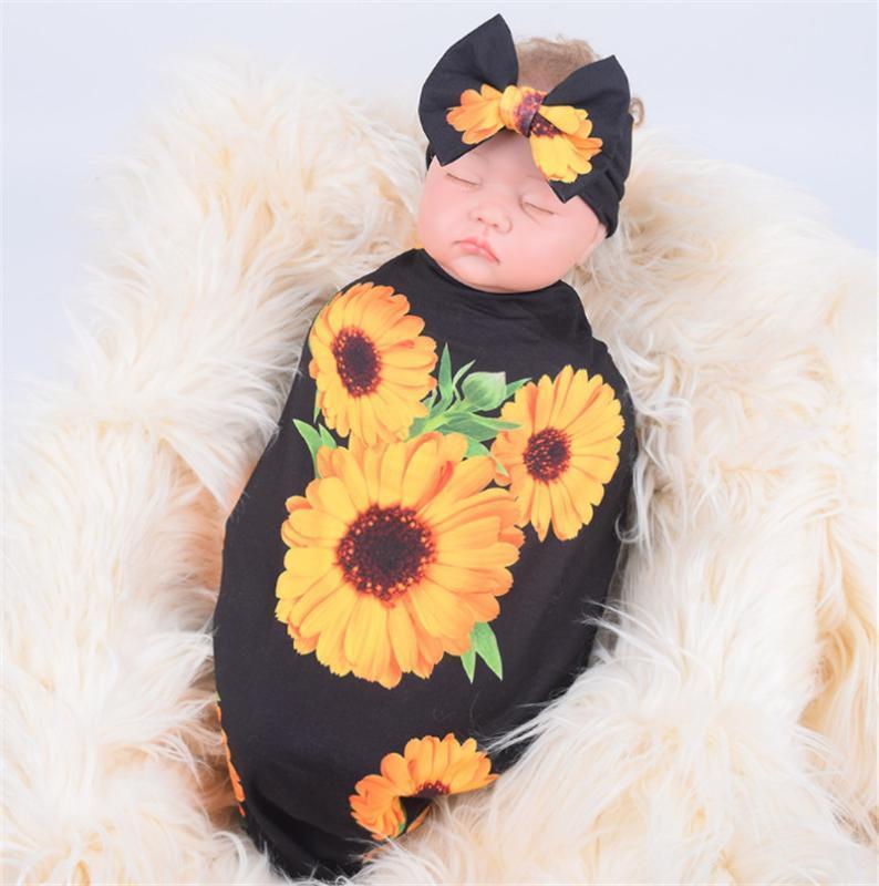 Baby 2 Stück Schlaf-Wrap-Sets Sunflower Pattern Decke Bowknotstirnband