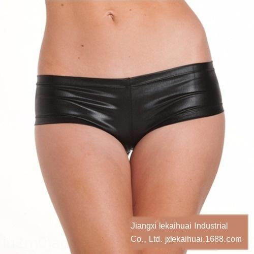 et9TB Sexy cueca super-grandes shorts de couro de patente shorts de couro Roupa interior pugilistas gordura da cintura boate desempenho pole dance