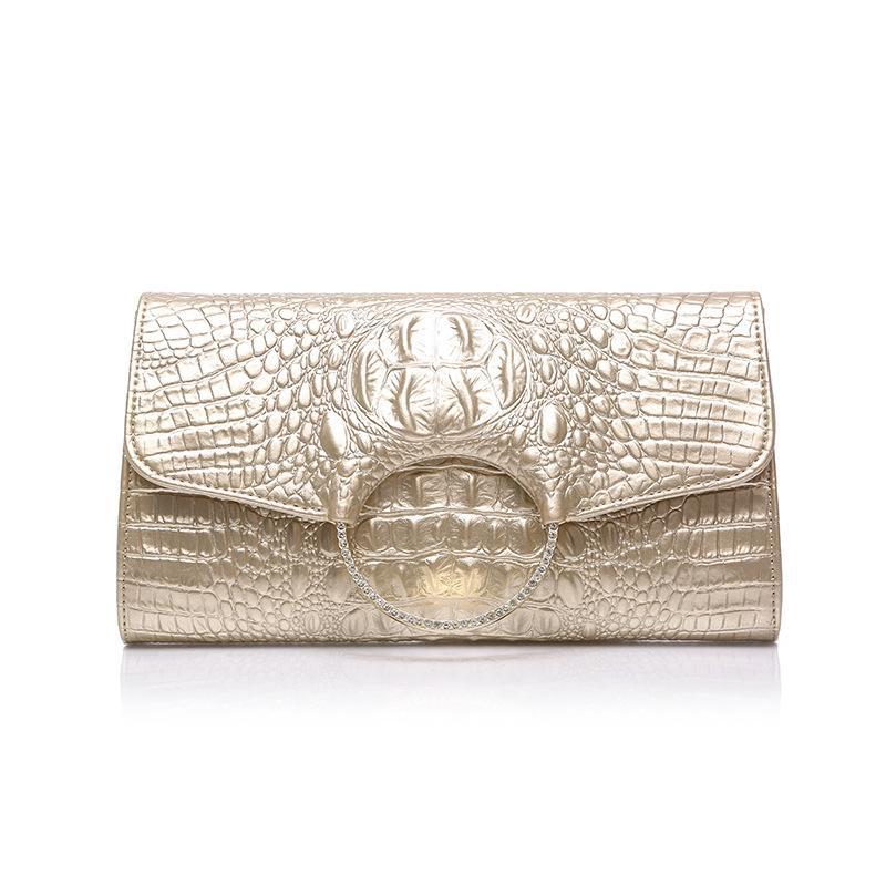 تمساح نمط إمرأة مساء حقيبة اليد الفاصل مساء حقائب فاخرة تصميم للهاتف سيدة حزب موبايل حقيبة جلدية حقيقية