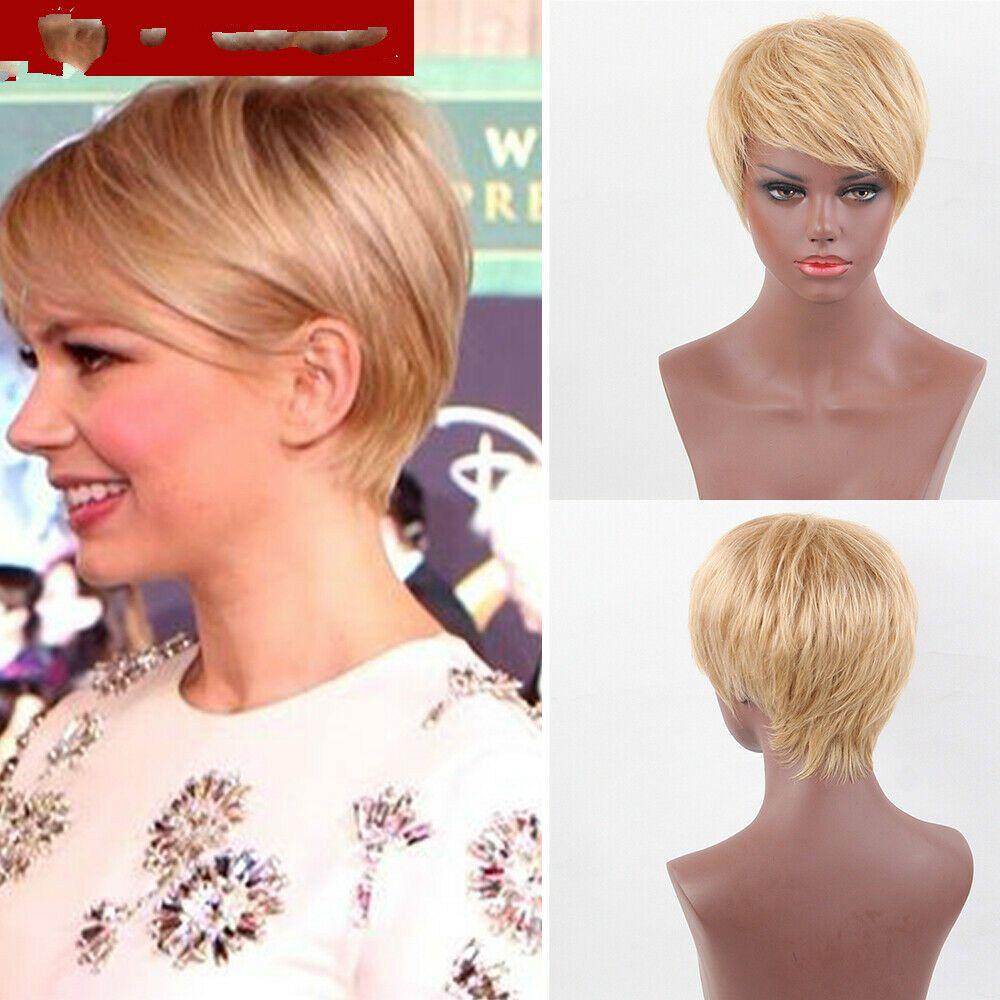 Las mujeres recta corta humano pelucas de pelo con flequillo Pixie Cut pelucas