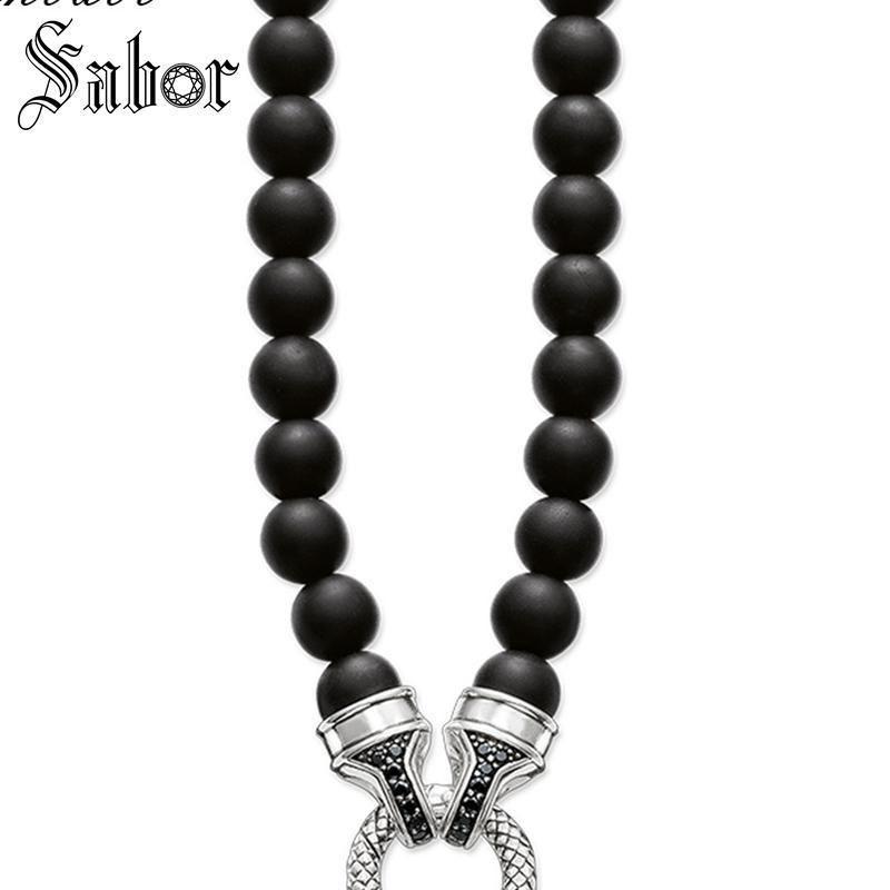 Ожерелье Pave Obsidian Carrier Панк подарок для женщин Мужчины, женщины ювелирные изделия тибетского серебра способа цвета ювелирных изделий