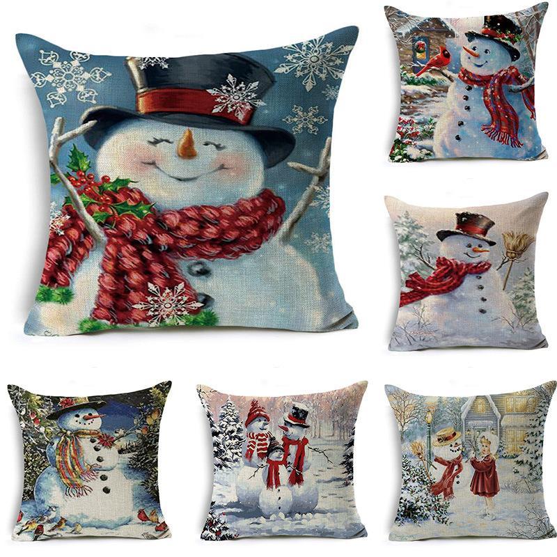15 Stiller Merry Christmas Yastık Kış Dekor Keten yastık yüzleri noel Koltuk Yastık Kılıfı Ev Araba Yastık Kılıflar 45 * 45 cm yukarda atın Kapaklar
