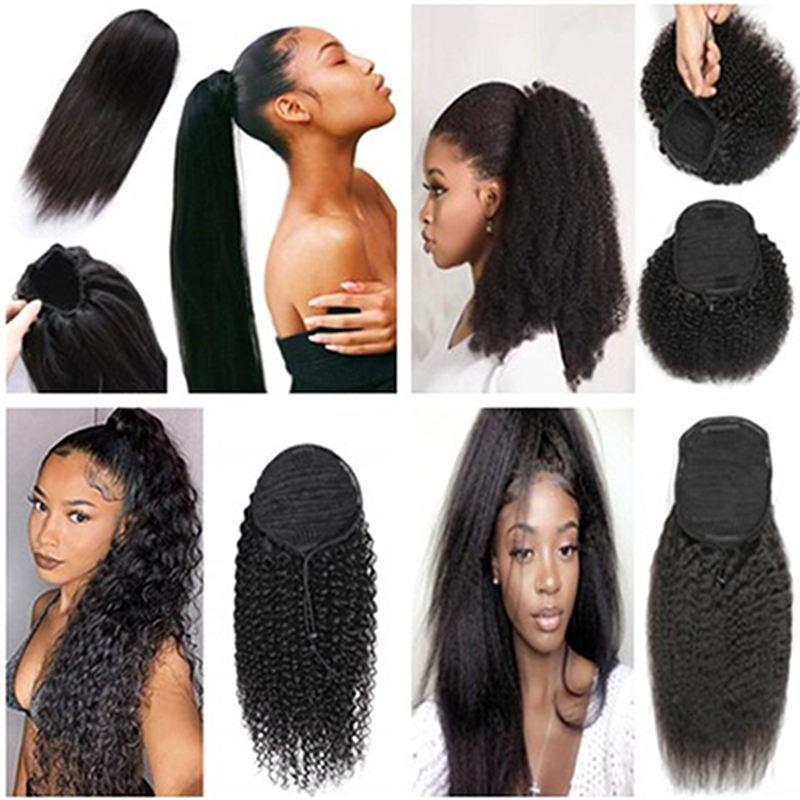 Mongol Cabelo Humano Afro-cavalo com cordão de-cavalo cor natural preto crespo encaracolado Kinky clipe reta em extensões de cabelo para as mulheres