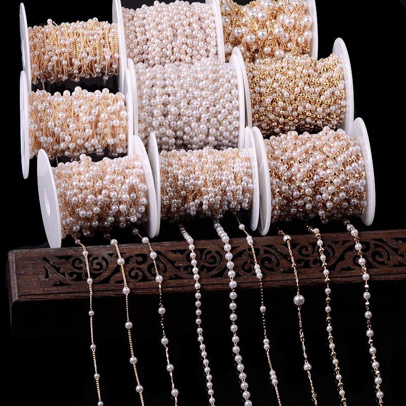 cadeia 1peCu pérola puro cobre acessórios de jóias de pérolas pulseira cadeia cocar hairpin material de colar pulseira da jóia