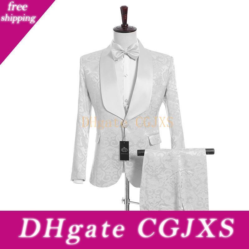 Yeni Geliş Bir Düğme Beyaz Kabartma Düğün Damat smokin Şal Yaka Groomsmen Erkekler Suits Prom Blazer (Ceket Pantolon Yelek Tie) W23