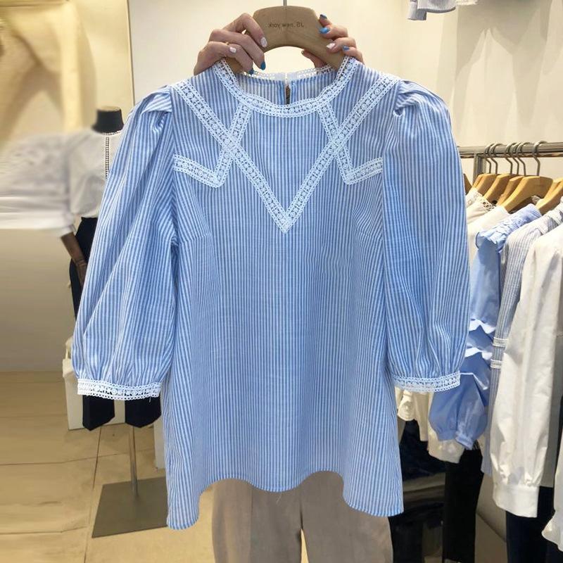 YuGAj tarzı Dongdaemun kadın Koreli kollu Sarayı kabarcık kısa kollu gömlek dikiş dantel yuvarlak boyun WGQmX gömlek