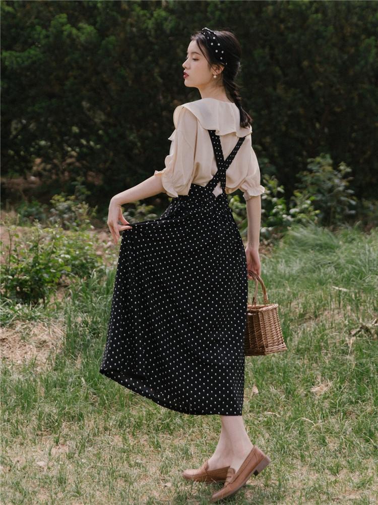 nBgxj Sommer neuer König Französisch Schwester Anzug Polkapunkthemd Rockkleid Nische Kleid Hemd Rock Französisch zweiteiligen