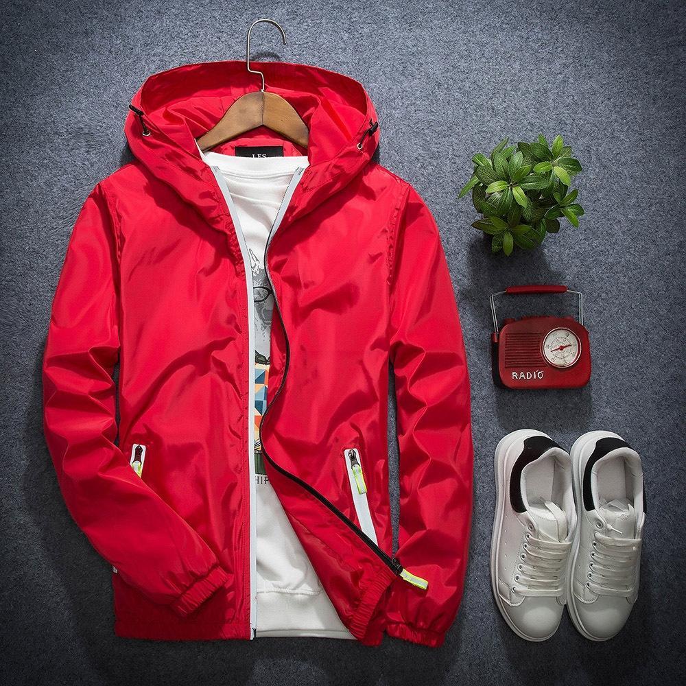 W17mM Yeni sonbahar erkek Kore tarzı moda erkek düz renk yansıtıcı kapüşonlu ceket ceket Gençlik öğrencinin büyük boyutta eklenti