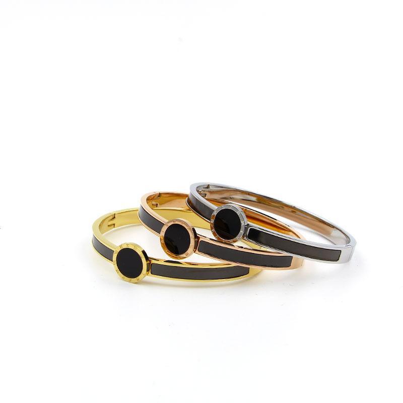 Мода Марка розовое золото Цвет римские цифры из нержавеющей стали лучше черный круглый браслет женщина подарков