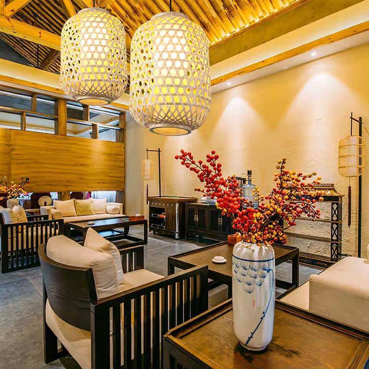 Китайский стиль Бамбуковые Подвесные лампы освещения Светодиодный светильник Подвеска лампа Питание Гостиная Спальня Кухня Кафе висячие лампы