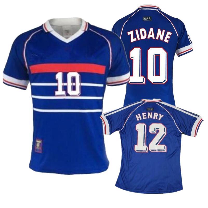 1998 calcio Jersey # 10 Zidane # 12 HENRY casa tailandese superiore 3AAA customzied numero nome zidane Henry camice uniformi di calcio di calcio Francia Retro