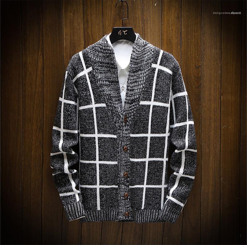 Свитера Кардиган Тонкий Мужские свитера Вязаные с длинным рукавом плед печатных Ladies Outerwears вскользь Mens цвет света