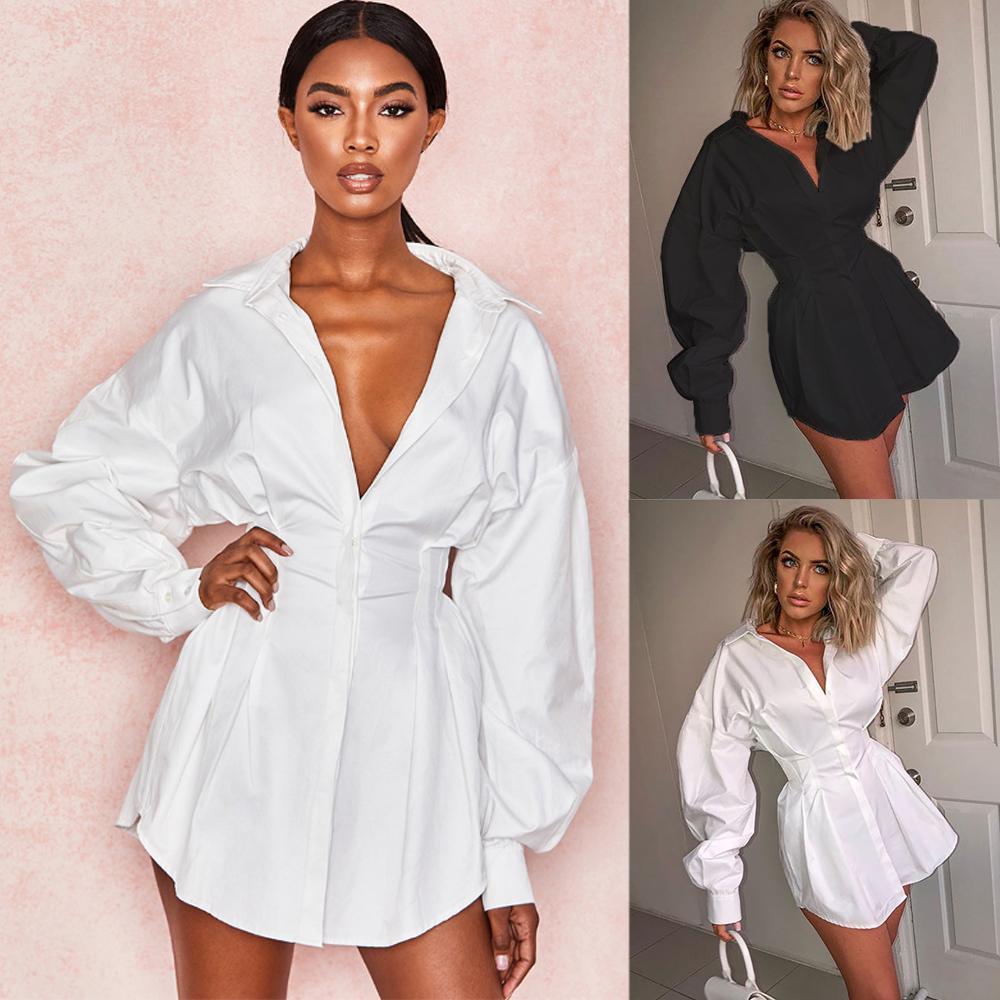 Damen langärmlige massive farbe revers hemd mini kleid beiläufige lose bluse lose fit taille sexy hemd dress