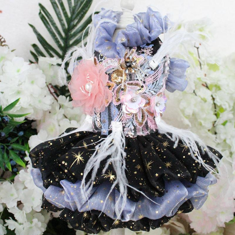 Pet Dog Dress Shining Handmade Embroidered Short Style Princess Wedding Tutu Dress For Small Dogs Lace Feather Clothes Chihuahua