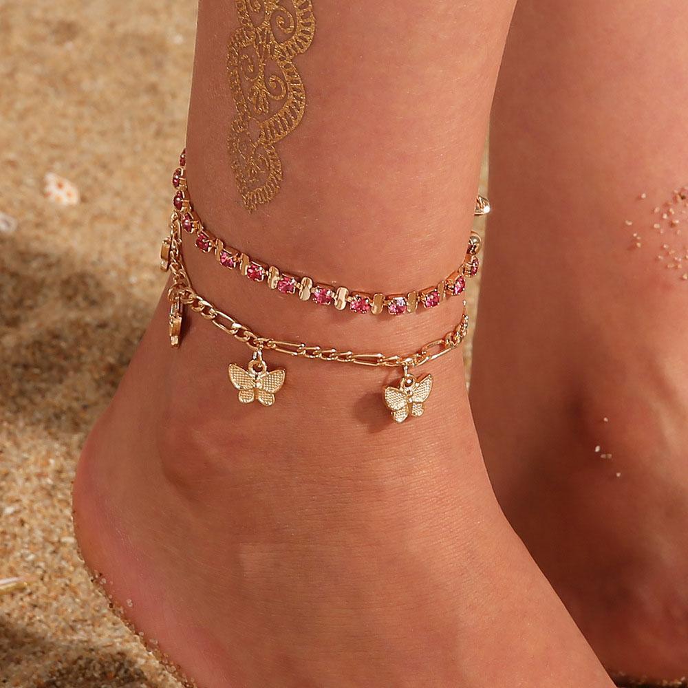 Rhinestone Cristal Tornozelo Pulseiras para Mulheres Sandálias Borboleta Anklet Boho Praia Pé Gelado Correntes De Correntes Feminino Moda Jóias