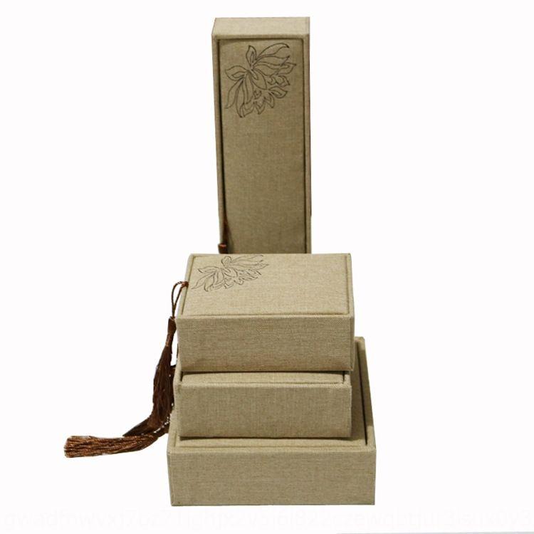 Poesia antiga de jóias caixa de pingente de borla linho madeira jade pulseira pulseira de caixa de embalagem O9qu3