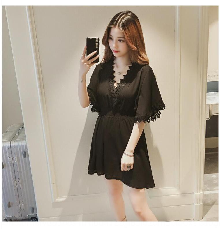 Летний новый небольшой V-образным вырезом с коротким рукавом свободный женщин Корейский стиль платье Кружевное платье кружева шить талии юбки похудение