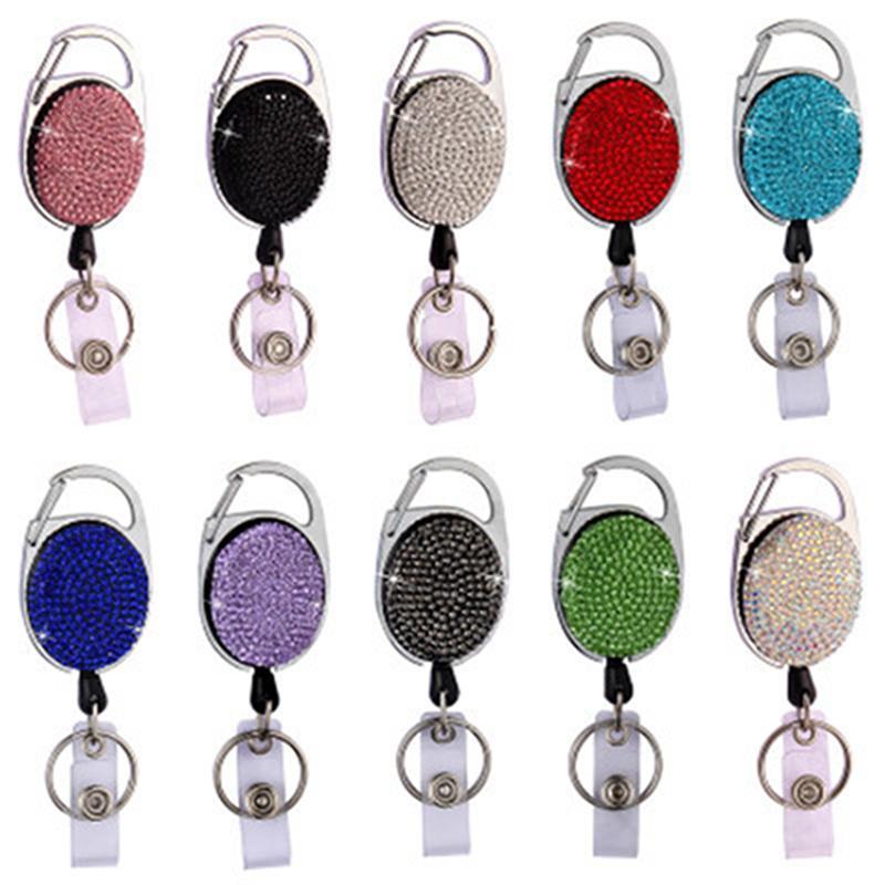 Neue Diamant-Badge Reel Lanyard ID-Karten-Abzeichen-Halter-Skipass Multischlüsselanhänger aus Metall Anti-verlorene Clip-Party Favor IIA455