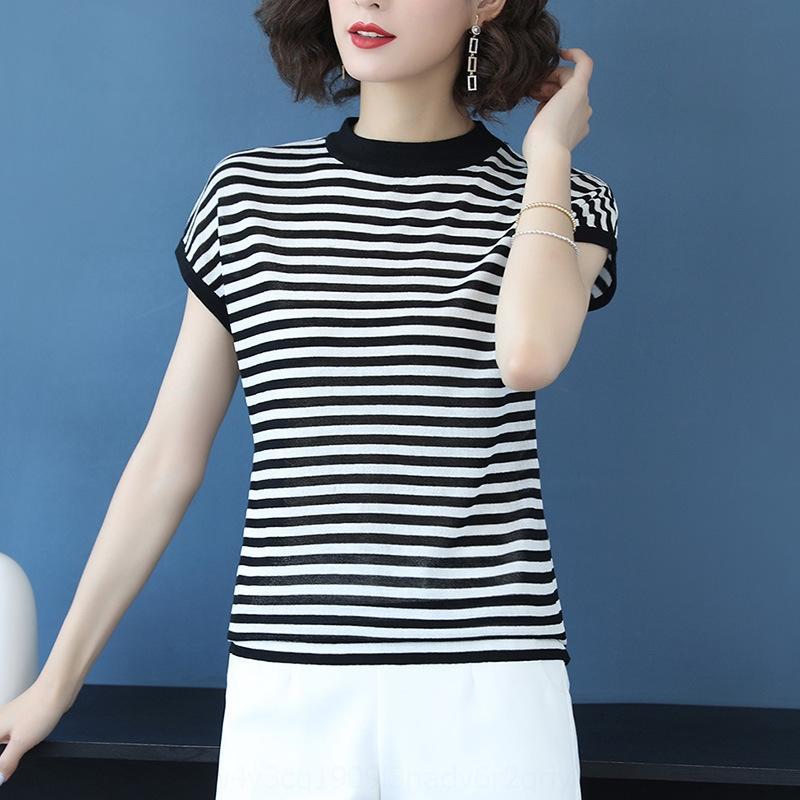 T-shirt de glace IZDOT DH5PL Knitwear Vêtements d'été à manches courtes 2020 Nouveau collier Silk Silk à court mi-hauteur T-shirt pour femme