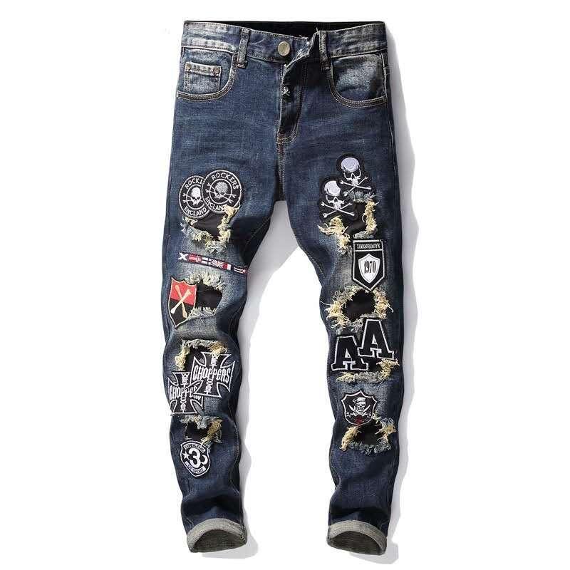 Para hombre apenada del motorista Rasgado Vaqueros Slim Fit motorista de la motocicleta del dril de algodón para los hombres de moda para hombre pantalones vaqueros de diseño de los pantalones vaqueros de los hombres al por mayor de mezclilla Europea