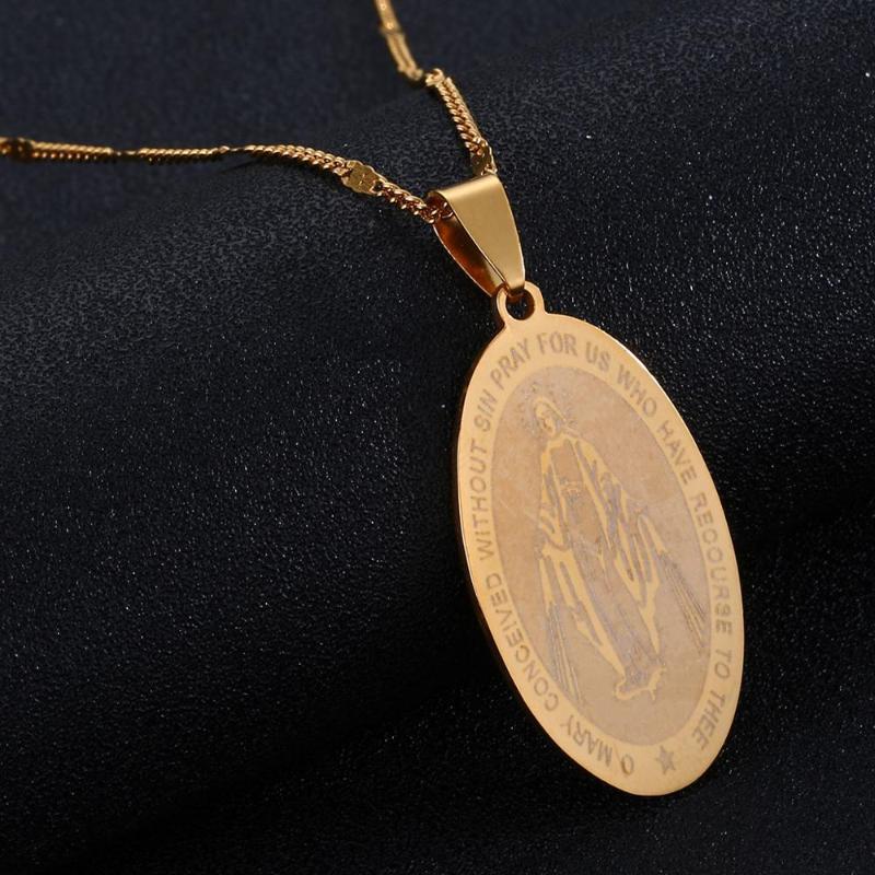 Sin Madalyası Meryem kolye kolye Takı olmadan Paslanmaz Çelik Mary Gebe