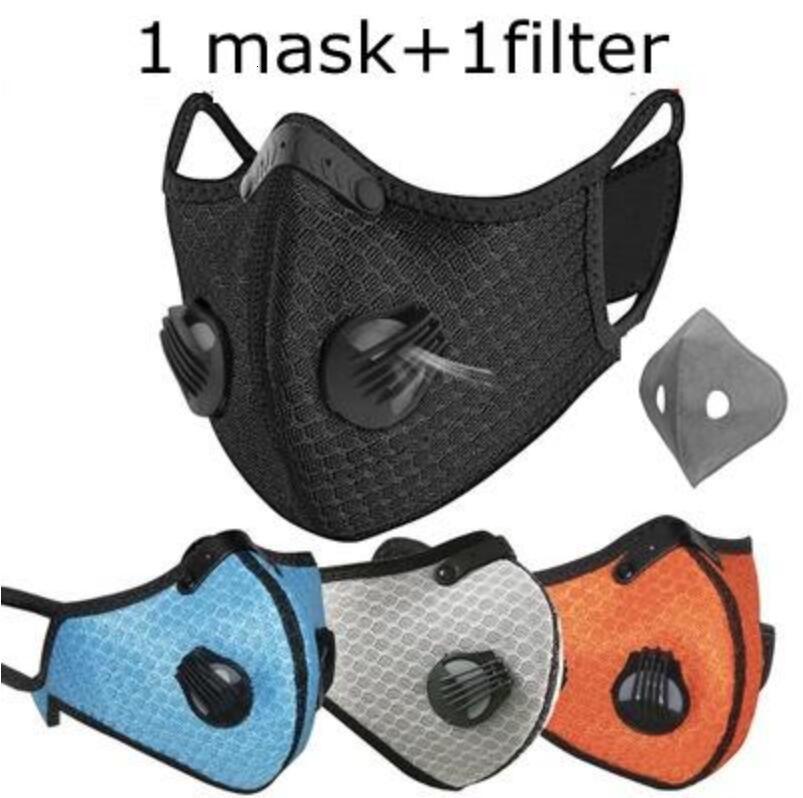 Máscara Máscaras Ciclismo Com 2pcs Válvula PM2.5 Esporte Boca abrange a protecção exterior reutilizável Máscaras Adultos Res ajustáveis