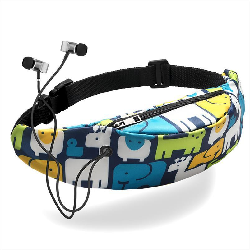 1PC 3D cintura lona colorida impressão Bolsas mulheres Fanny Hip sacos de dinheiro Belt Viagem Montanhismo Mobile Phone Bag cintura