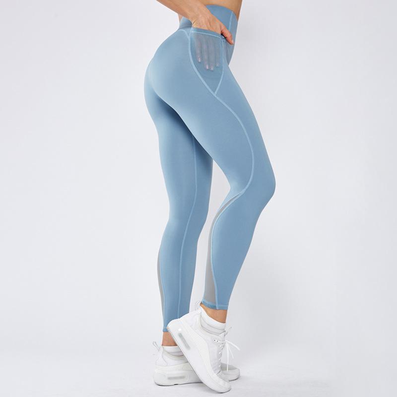 La nuova maglia di giunzione nylon di alta Vita Anche Sport pantaloni attillati Yoga pantaloni della tuta Donne Abbigliamento sportivo per le donne Gym Bodybuilding