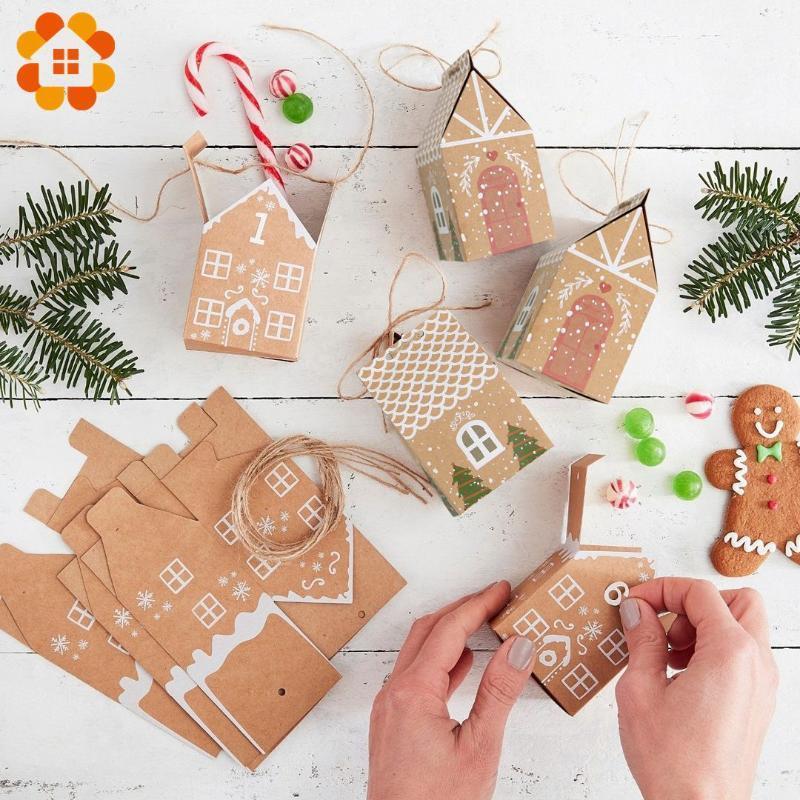 5pcs Christmas House forma de caixa de doces do presente Bags Xmas DIY Branco Red Biscoito Doce embalagem Home Partido Feliz Natal Decoração