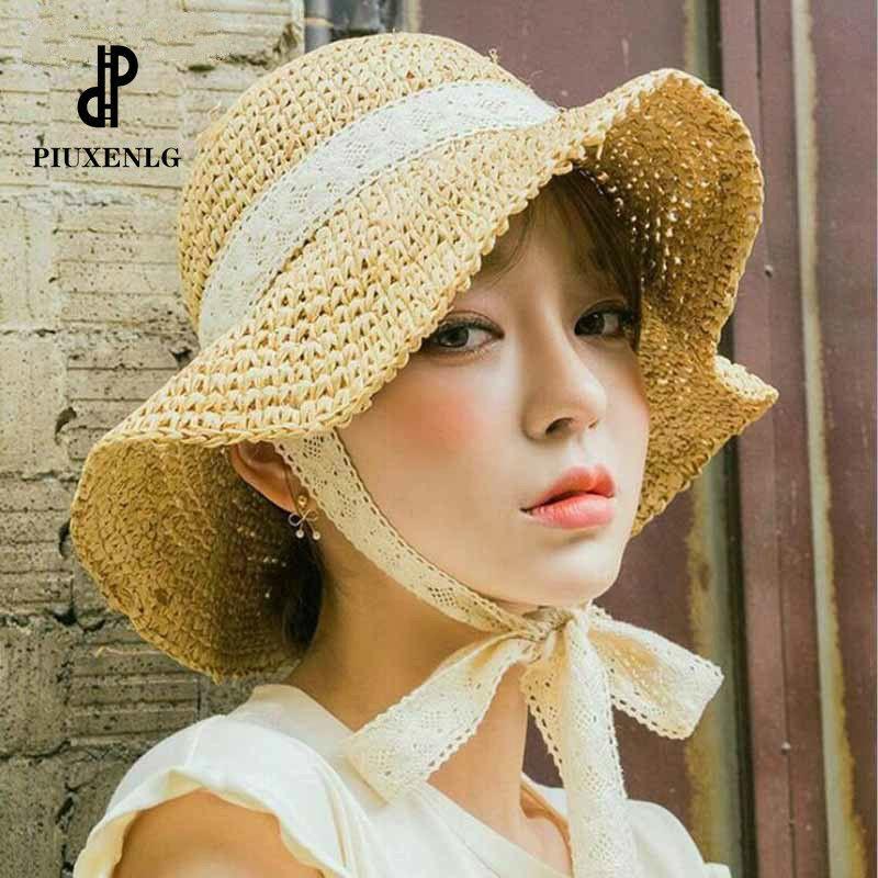 Летние канотье Шляпы для женщин Стро Sun Hat Lady Girls кружева ленты лук Panma Пляж Hat Floppy Женский Путешествие Складные Chapeu