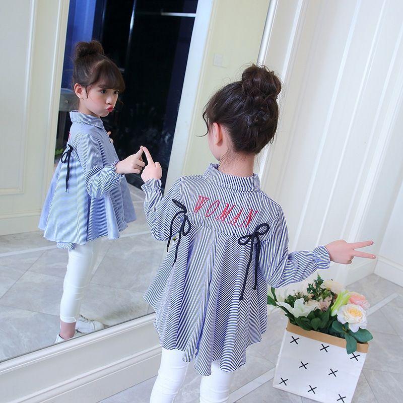 CrWjF Vêtements pour enfants Automne Nouveau style coréen chemise brodée bébé fille vêtements brodés enfants chemise de style occidental de coll lapel
