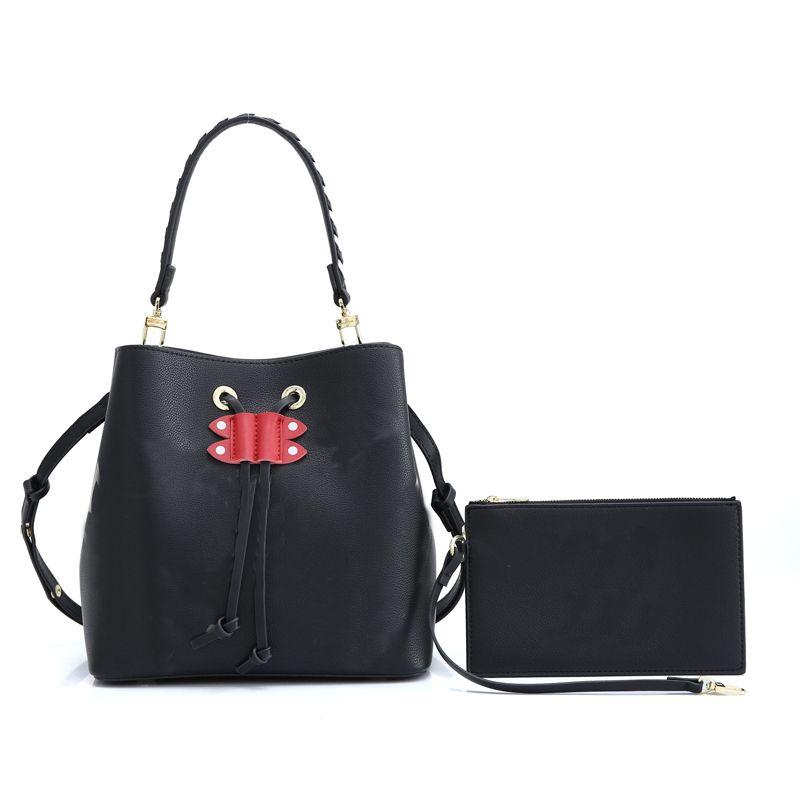 2pcs Handbag Set with wallet Drawstring Bucket Bag Embossed Real Leather Old Flower L Handbags Braided Removable Handle Strap Shoulder Bags