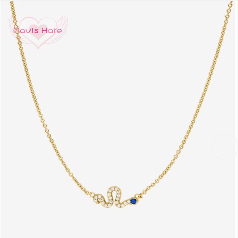 Кулон ожерелья Mavis Blues Blues Ожерелье Золото из нержавеющей стали Crystal Snake Цепь, чтобы отдать неудачу как женщина подарка