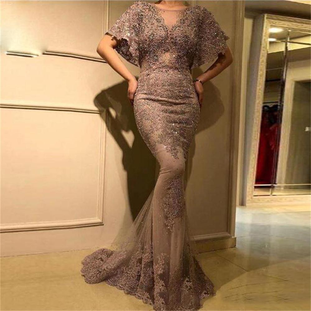 Сияющий блестками Русалка Вечерние платья Sheer шеи Кружева Аппликации Короткие рукава платья коктейль арабский Дубай Формальное вечернее платье