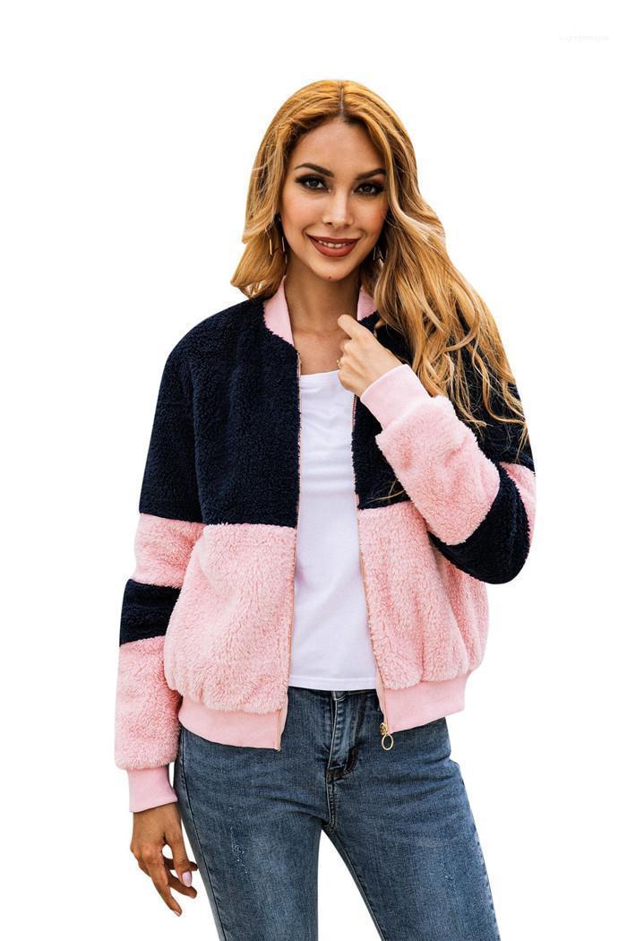 Neck Sweatshirts Damen Herbst-Winter-Mantel-Frauen-Patchwork-Pullover mit Reißverschluss Pink und Schwarz-Plüsch-Mannschaft
