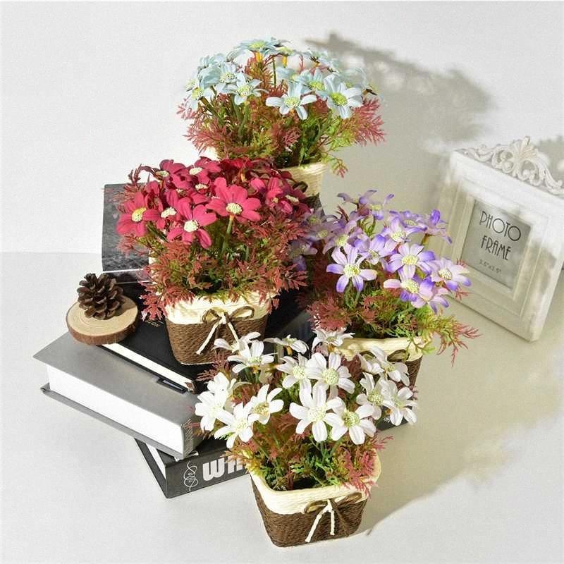 Artificial Gerbera Flowers+Rattan Vase Simulation Plants Mini Bonsai Set for Wedding Party Home Garden Decoration Fake Flowers BChf#