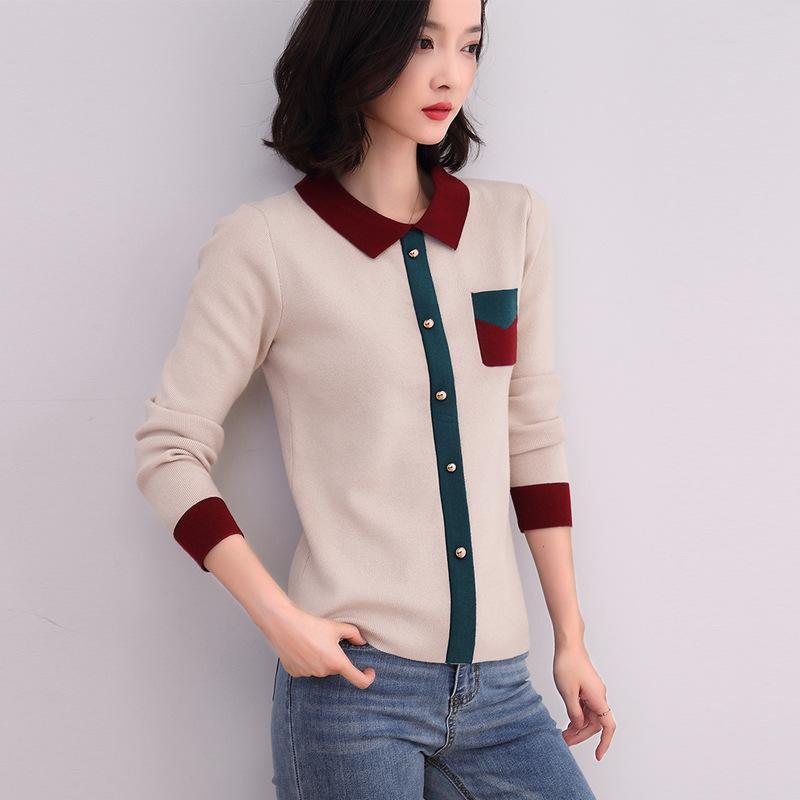 Gestrickten Pullover Frauen 2019 Herbst-Mode Pullover Umlegekragen Kontrast Farbe Strick Pull Femme Frauen Pullover stricken Tops T200815