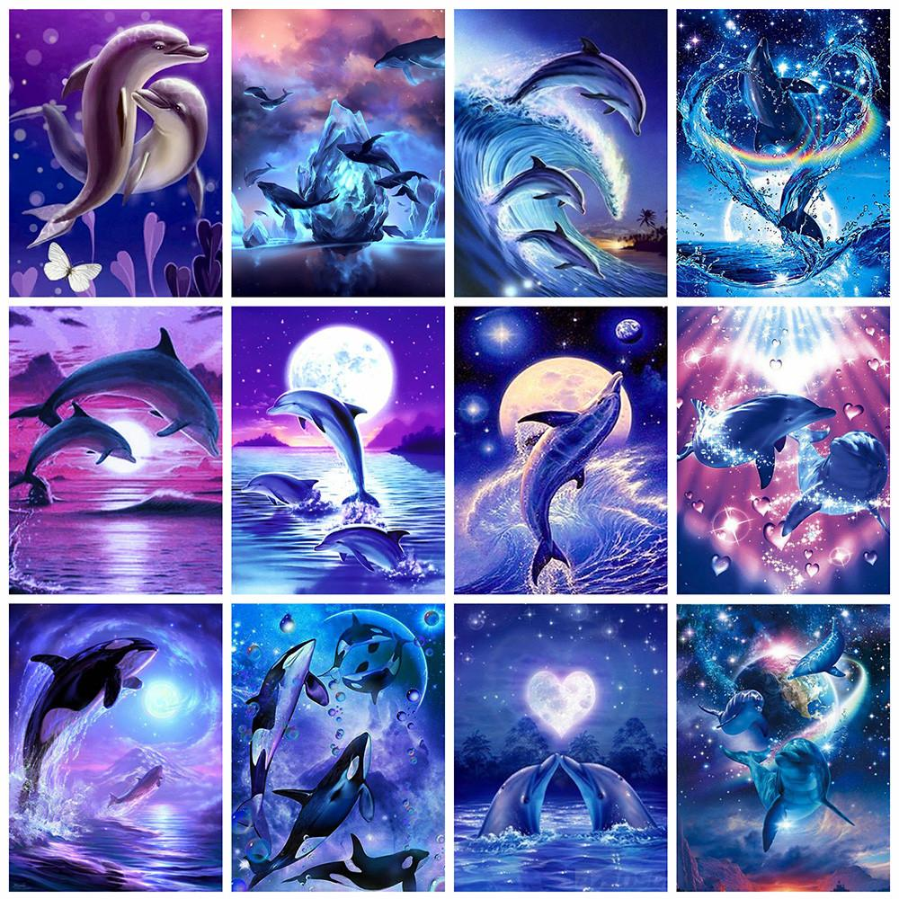 5d DIY Diamond Embroidery dolphins Full Diamond Painting Scenery Cross Stitch Home Decor Round drill Christmas gift-30X40CM Round