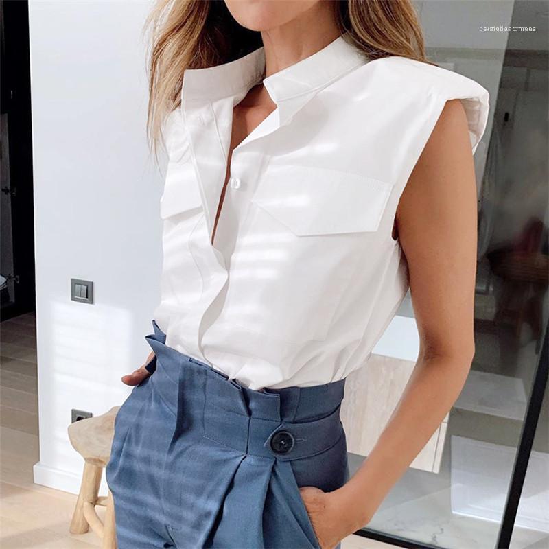 Designer Schulterpolster Ärmel Shirts mit Taschen-Mode-natürlichen Farben-Revers-Ansatz-Shirts der Frauen Kleidung Frauen Casual Shirts
