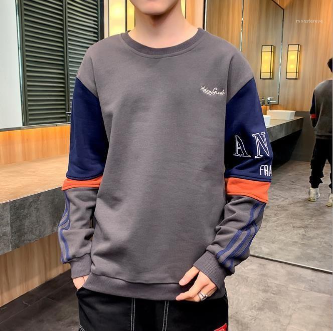 Manches longues Homme Vêtements Lettre Hommes Broderie jeunesse Sweatshirts Patchwork O-Neck Hommes Tops en vrac Casual