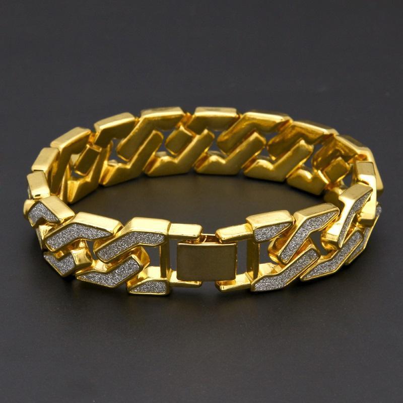 Catene Cuban Catena braccialetto per Mens Iced Out Hip Hop monili dei braccialetti placcatura in oro braccialetto zircone