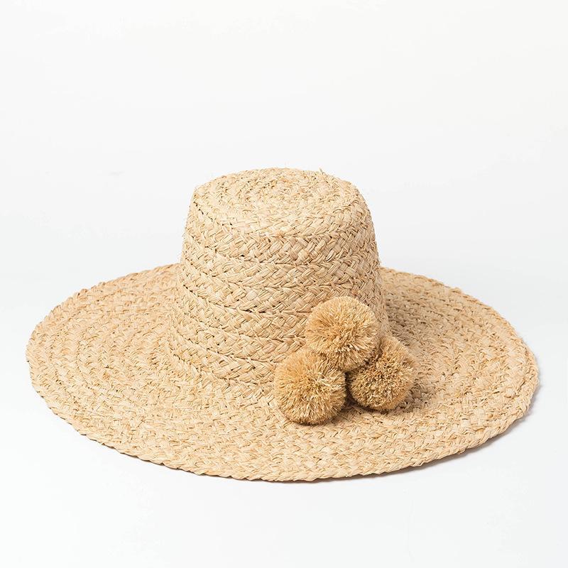 raffia decorazione di palla alta pelliccia cappello fatto a mano tesa larga protezione solare del cappello per le signore delle donne cappellini estivi