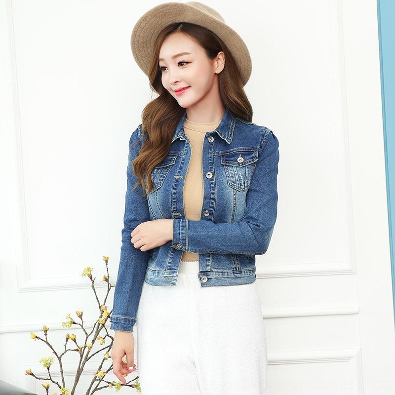 nueva chaqueta estilo corto tamaño grande NMD5V 2020 clip de la manga delgada del otoño de las mujeres versátiles suelta de mezclilla de moda coreana chaqueta de manga larga