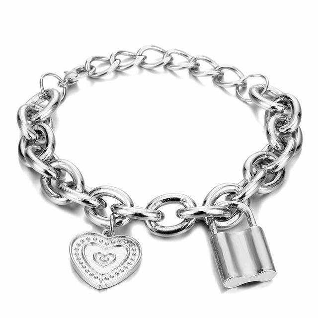 Monili delle donne PadLock braccialetti del pendente di colore dell'oro dei braccialetti della lega di modo di fascino del cuore spessa catena braccialetto di amicizia da regalo