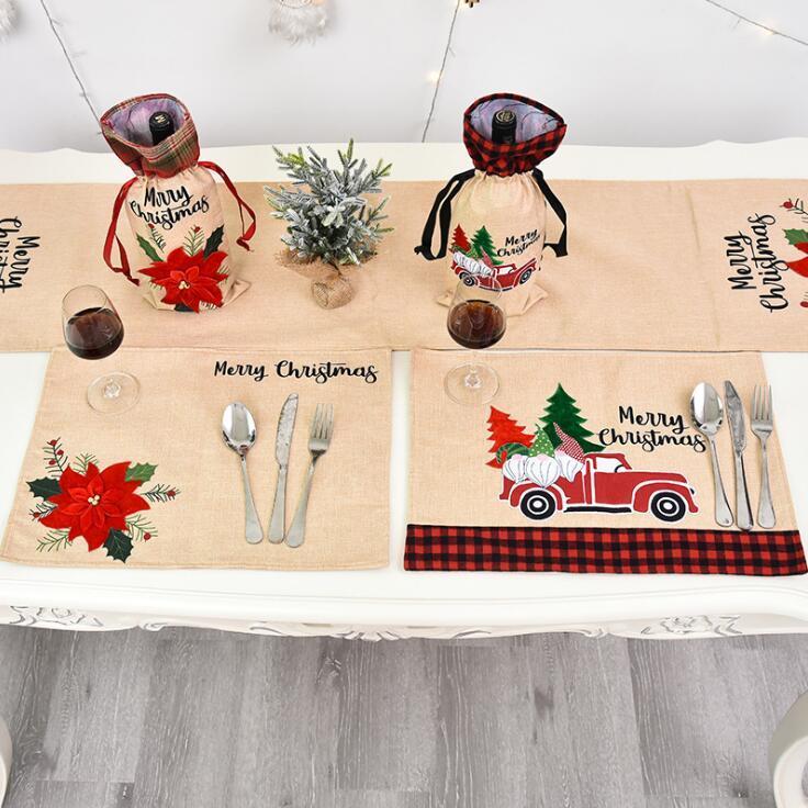 عيد الميلاد الجدول حصيرة الكتان عيد الميلاد زهرة مكان حصيرة الإبداعية أدوات المائدة ماتس حامل عيد الميلاد الجدول الديكور للمنزل 46 * 34CM CGY726