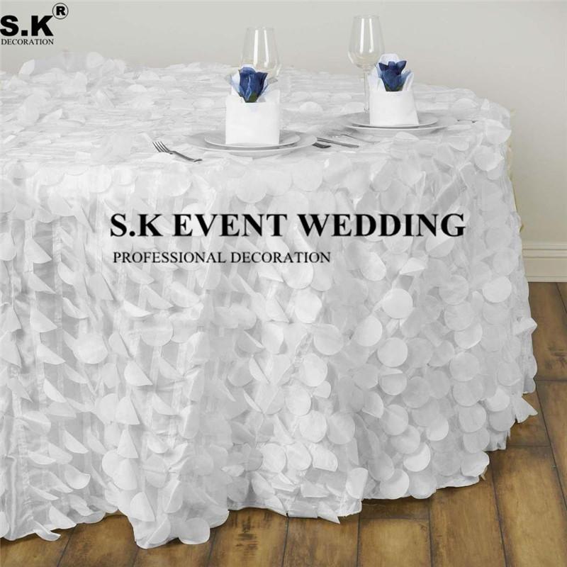 Good Looking Round Flamingo Petals Tablecloth Poly Taffeta Table Cloth For Banquet Wedding Decoration